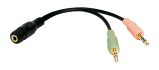 Billede af Minijack 3.5mm adapterkabel (2xM/1xF) 15cm sort (BL CA0020)