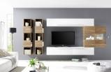 Afbeelding van Benvenuto Design Bex TV wandmeubel 12 Wit / Eiken
