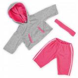 Afbeelding van Bayer kledingset 46 cm grijs/roze 3 delig