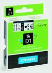 Billede af Dymo S0720530 standardtape D1 sort på hvid 12mm x 7m original Dymo 45013