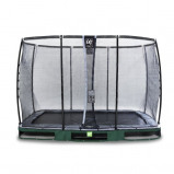 Bilde av EXIT Elegant bakketrampoline 214x366cm med Deluxe sikkerhetsnett grønn