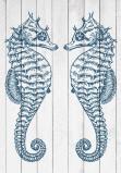 Afbeelding van 2 Zeepaardjes Blauw Zee Kunst