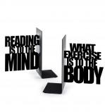 Afbeelding van Balvi boekensteun Mind exercise zwart metaal set van 2