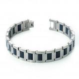 Afbeelding van Boccia 0334 01 Armband titanium zilverkleurig zwart 21 cm