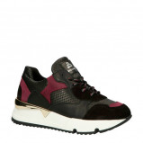 Afbeelding van bullboxer 323000E5L leren sneakers zwart/rood