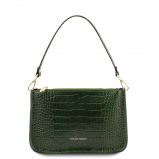 Imagine din Croc print leather clutch handbag Forest Green