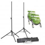 Image of Adam Hall SPS 023 SET 3 Speaker Stand Set + XLR Cables & Transport Bag