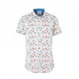 Afbeelding van A fish named Fred regular fit overhemd met all over print wit