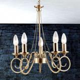 Afbeelding van Globo hanglamp TRUNCATUS 5 lichts, van oud messing, voor woon / eetkamer, metaal, E14, 40 W, energie efficiëntie: A++, H: 39 cm