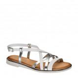 Afbeelding van 5th Avenue leren sandalen wit/zilver