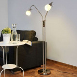 Afbeelding van 2 lichts LED vloerlamp Elaina mat nikkel, Lampenwelt.com, voor woon / eetkamer, metaal, glas, E14, 4 W, energie efficiëntie: A+, H: 150 cm