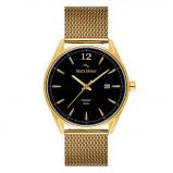Afbeelding van Mats Meier Castor heren horloge zwart/goudkleurig mesh
