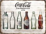 Afbeelding van Coca Cola Flesjes Timeline Metalen Wandplaat 40x30cm Wandplaten