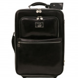 Image de 2 Wheels vertical Leather trolley Black