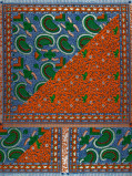 Immagine di Vlisco VL00006.286.04 Blue/Orange African print fabric Limited Editions Decorative
