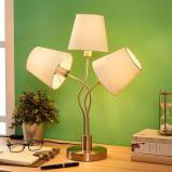 Afbeelding van 3.lamps tafellamp Sharon met stoffen kappen, Lampenwelt.com, voor woon / eetkamer, stof, metaal, E14, 40 W, energie efficiëntie: A++, H: 52.5 cm