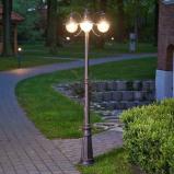 Afbeelding van 3 lichts lantaarnpaal Eddie, IP44, Lampenwelt.com, aluminium, metaal, glas, E27, 60 W, energie efficiëntie: A++, H: 198 cm