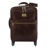 Image of 4 Wheels vertical leather trolley Dark Brown