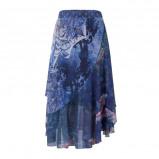 Afbeelding van Desigual asymmetrische rok met overslag blauw