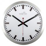 Afbeelding van Wandklok NeXtime dia. 35 cm, aluminium, wit, 'Station' Radio Controlled (DCF)