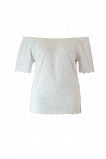 Afbeelding van FSTVL by MS Mode Dames Off shoulder top met broderie Wit