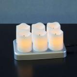 Afbeelding van Best Season heroplaadbare LED theelichtje Chargeme, 6 stuks, kunststof, 0.6 W, L: 15 cm, H: 7 cm