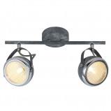 Afbeelding van Brilliant betongrijze plafonlamp Rider, tweeflammig, voor woon / eetkamer, metaal, glas, G9, 33 W, energie efficiëntie: A++, L: 37 cm, B: 14 H: 22 cm