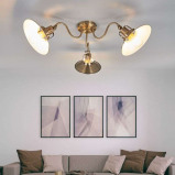 Afbeelding van 3.lamps plafondlamp Arkardia in oud messing, Lampenwelt.com, voor woon / eetkamer, metaal, E27, 60 W, energie efficiëntie: A++, H: 25 cm