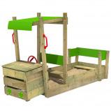 Abbildung von Fatmoose Auto Sandkasten aus Holz PowerPulley Kinder Sandkasten