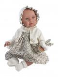 Billede af Asi Leonora dukkebaby Med blomstret kjole, kyse og rangle