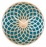 Afbeelding van Nextime Wandklok dia. 35 cm, hout & stof, turquoise, 'Sun Small'