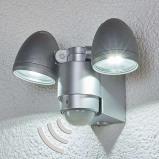 Afbeelding van 2 pits LED buitenspot Todora met sensor, Lampenwelt.com, drukgegoten aluminium, kunststof, 3 W, energie efficiëntie: A, B: 14.7 cm, H: 16 cm