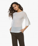 Afbeelding van Fine Edge T shirt Gebreid Cashmere in Off white