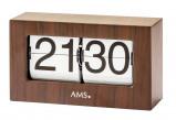 Afbeelding van AMS 1177 Tafelklok, flipklok metaal Notenhoutkleur