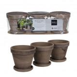 Afbeelding van Mica Decorations 3 grijze stan potjes met schotel grijs maat in cm:
