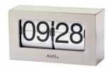 Afbeelding van AMS 1175 Tafelklok, flipklok metaal aluminiumkleurig
