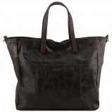 Immagine di Aged effect leather shopping bag Black