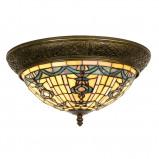 Afbeelding van Clayre & Eef ronde plafondlamp Kimberly in Tiffany stijl, 38 cm, voor woon / eetkamer, glas, metaal, E14, 40 W, energie efficiëntie: A++, H: 19 cm