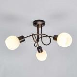 Afbeelding van 3 lichts LED plafondlamp Elaina, roestbruin, Lampenwelt.com, voor woon / eetkamer, metaal, glas, E14, 4 W, energie efficiëntie: A+, H: 25 cm