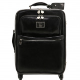 Immagine di 4 Wheels vertical leather trolley Black