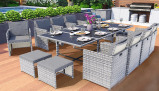 Imagine din 'Vegas' Rattan Cube Dining Set With Cover 3 Colours & 6 Sets
