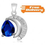 Image of Silver Plated Blue Simulated Sapphire Earrings Free Delivery!