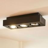 Afbeelding van 3 lamps GU10 LED plafondlamp Vince, zwart, Lampenwelt.com, voor hal, aluminium, GU10, 5 W, energie efficiëntie: A++, L: 36 cm, B: 14 H: 8.5 cm
