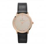Afbeelding van Renard Elite 35.5 horloge linnen/rosé goud veau zwart