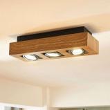 Afbeelding van 3 lamps LED plafondlamp Vince met houttint, Lampenwelt.com, voor hal, metaal, aluminium, GU10, 5 W, energie efficiëntie: A++, L: 36 cm, B: 14 H: 8.5 cm