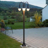 Afbeelding van 3 lichts kandelaber Daphne, Lampenwelt.com, aluminium, polycarbonaat, E27, 60 W, energie efficiëntie: A++, H: 220 cm