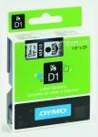 Billede af Dymo 45010 standardtape D1 sort på transparent 12mm x 7m original