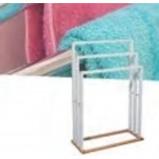 Afbeelding van AA Commerce Staand Bamboe Houten Handdoekenrek Kledingrek Handdoek Houder Rek