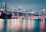 Afbeelding van Brooklyn Bridge Neon Steden Fotobehang