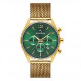 Afbeelding van Mats Meier Grand Cornier chronograaf heren horloge groen/goudkleurig mesh